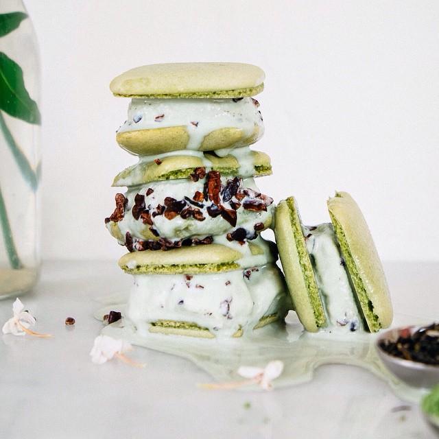 Matcha + Jasmine Macaron Ice Cream Sandwiches