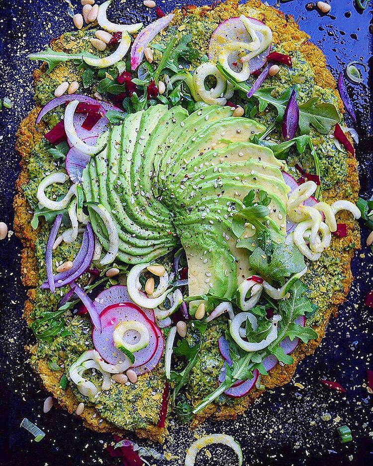 Pesto Cauliflower Crust Pizza recipe