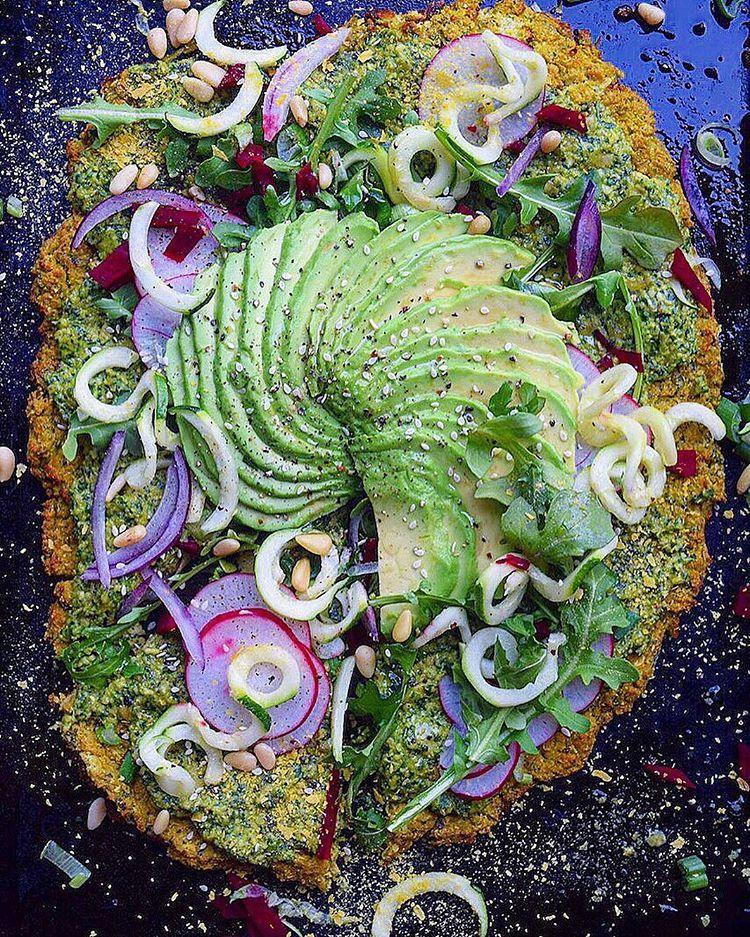 Pesto Cauliflower Crust Pizza