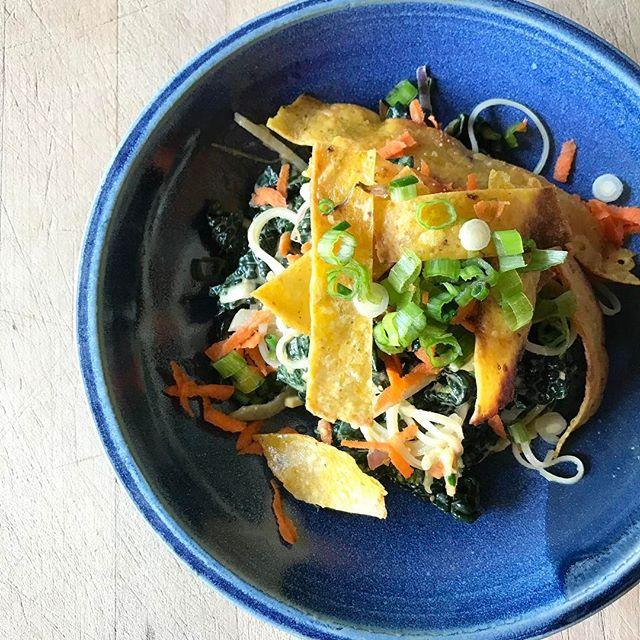 Ginger Peanut Kale And Noodle Salad