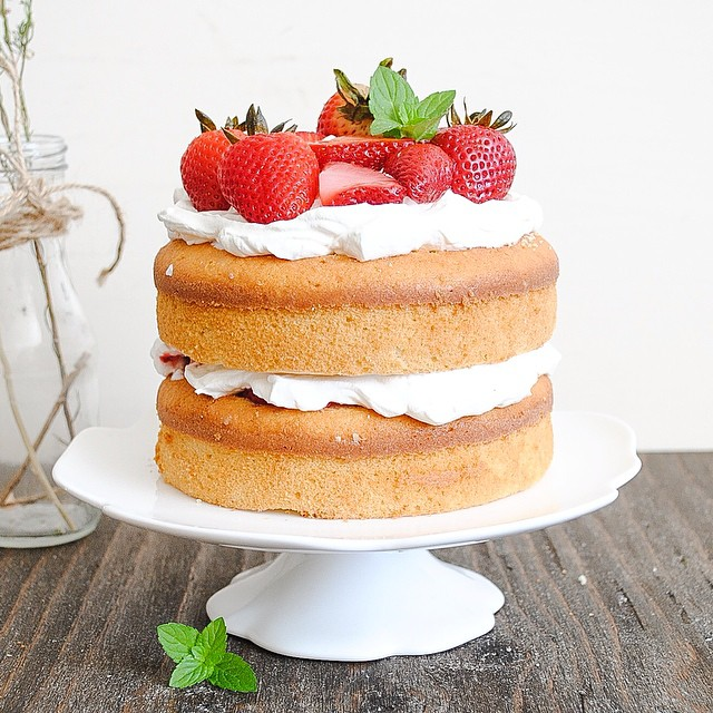 Strawberry And Whipped Cream Naked Cake