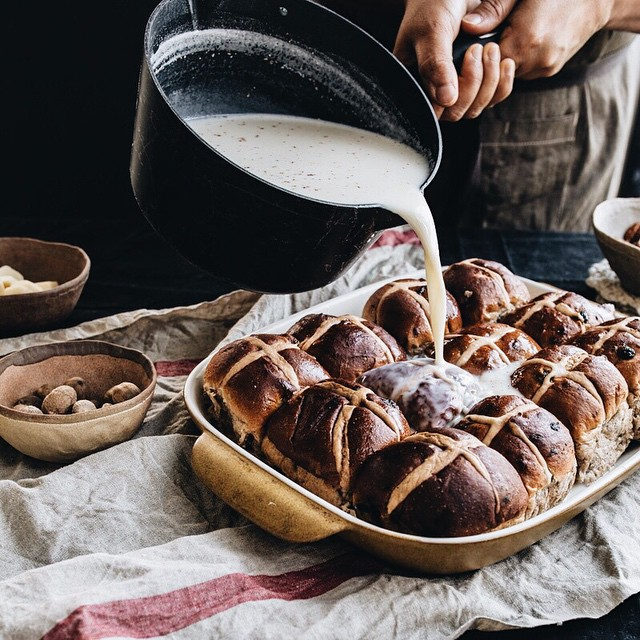 Nutmeg Hot Cross Bun Bread Pudding