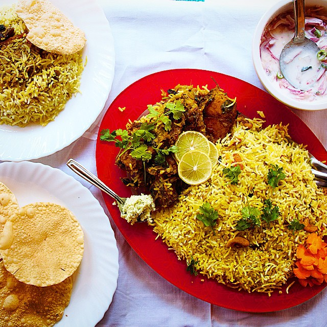 Malabar Fish Biryani, Pappadums & Onion Raita