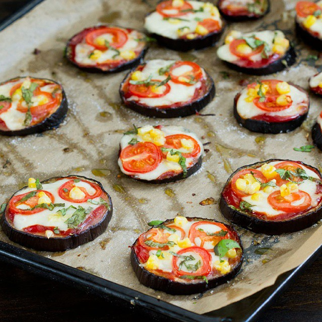 Mini Eggplant Pizza Bites With Mozzarella