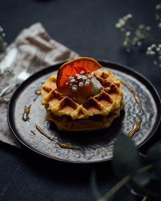 Waffled Rice Pudding With Orange Curd