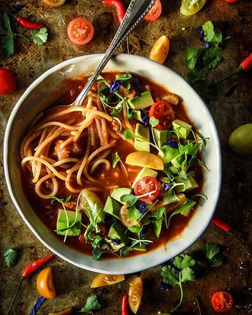 Mexican Chicken Noodle Soup With Avocado, Cilantro, And Lime