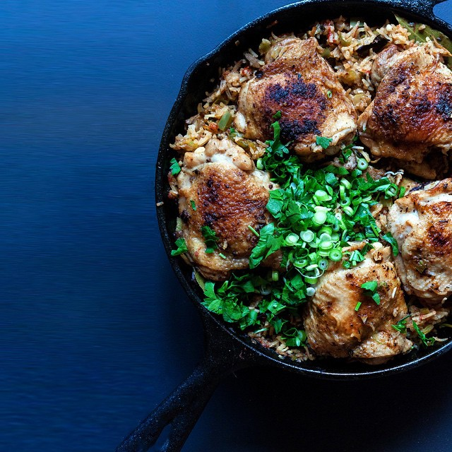 Creole Chicken With Mushroom & Fresh Thyme Dirty Rice