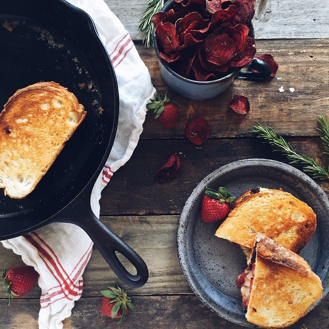 Strawberry Brie And Peppered Bacon Grilled Cheese