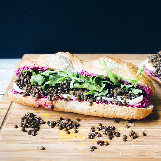 Lentil Salad And Pickled Butter Beet Baguette Sandwich