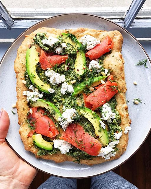 Pesto And Salmon Pizza With Truffle Almond Cheese