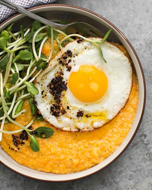 Sweet Potato Polenta With Fried Eggs, Greens And Chili Oil