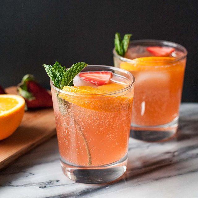 Orange Strawberry Champagne Cocktail