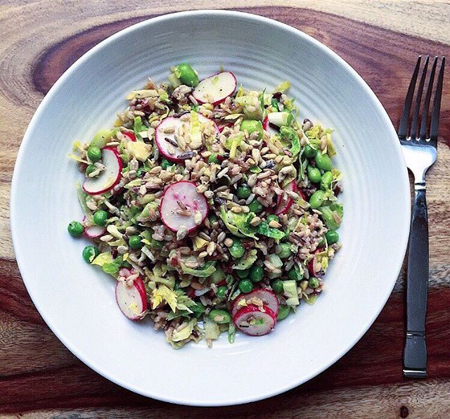 Wild Rice Salad With Brussels Sprouts, Radish & Peas