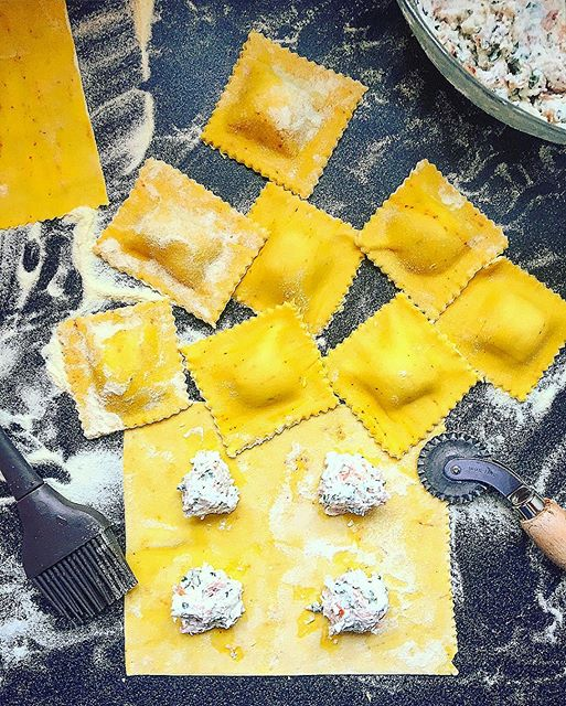 Prosciutto And Ricotta Stuffed Saffron Ravioli