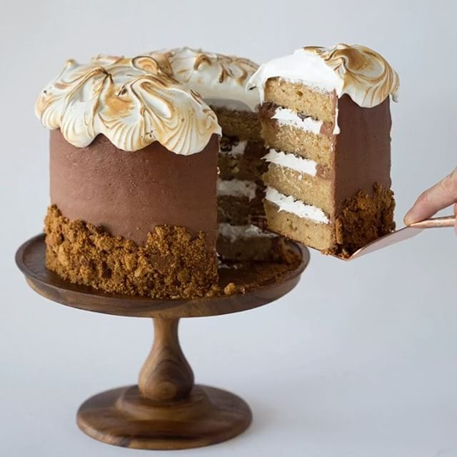 Smores Layer Cake With Toasted Marshmallow Topping