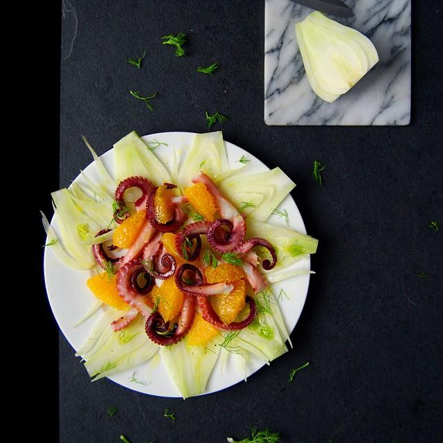 Mediterranean Octopus Salad With Fennel, Onion, Lemon And Orange