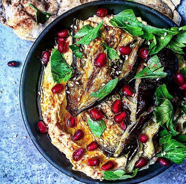 Hummus, Roasted Eggplant, Pomegranate Seeds With Middle Eastern Flatbread