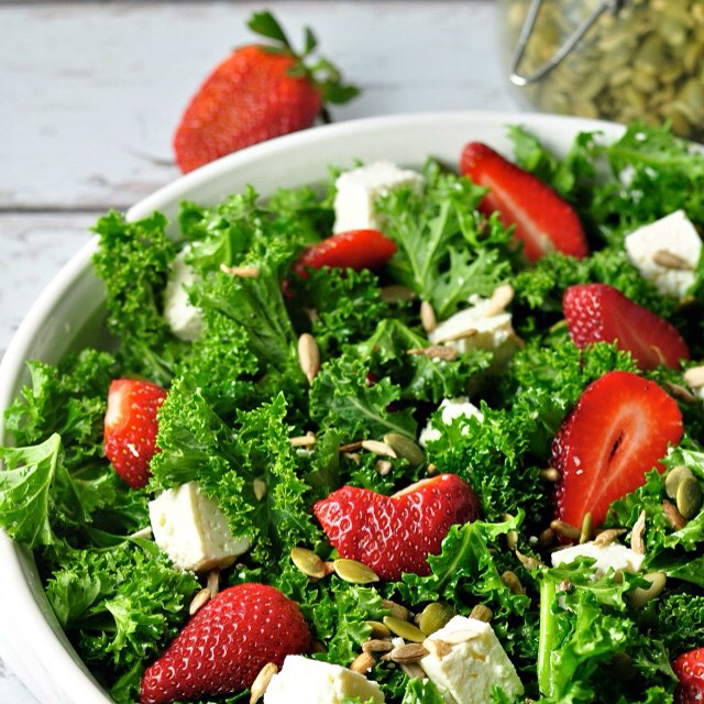 Strawberry Kale Salad With Pumpkin Seeds And Feta
