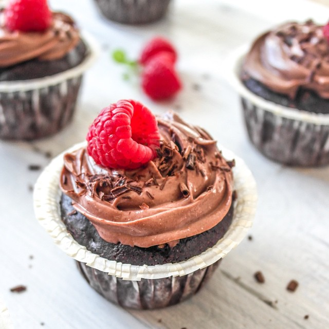 Black Bean Muffins With Chocolate Frosting And Raspberries