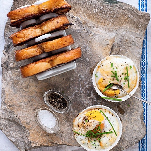 Baked Duck Eggs With Brioche French Toast