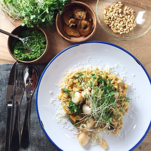 Bay Scallops With Roasted Shiitake Mushrooms, Toasted Pine Nuts, A Classic Gremolata