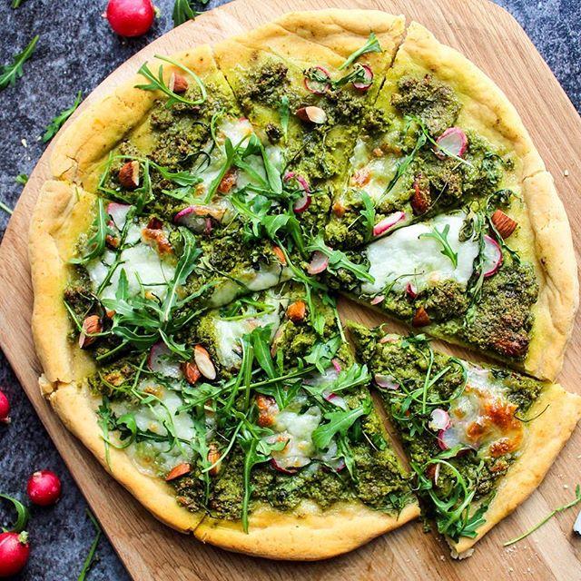 Kale Pesto And Almond Pizza