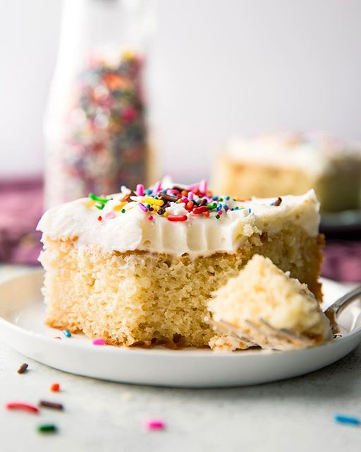 Vanilla Sheet Cake With Sprinkles