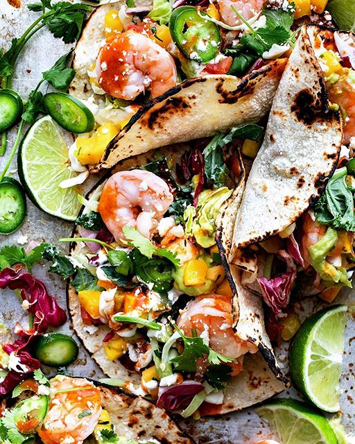 Shrimp Tacos - I swapped out the traditional slaw and snuck in some greens for a more healthy-ish…