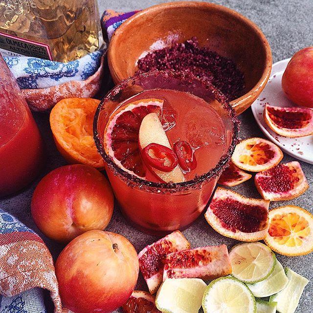 Aprium Plums, Tangerine And Blood Orange Margaritas