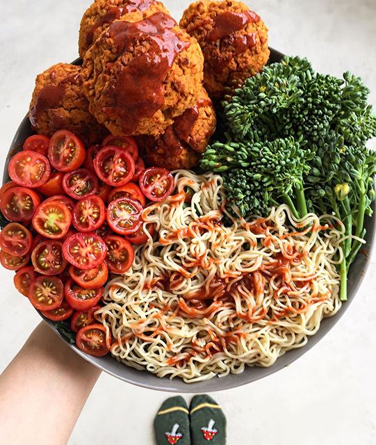 Lentil sweet potato falafels ➕ brown rice noodles ➕grape tomatoes ➕ broccolini topped with…