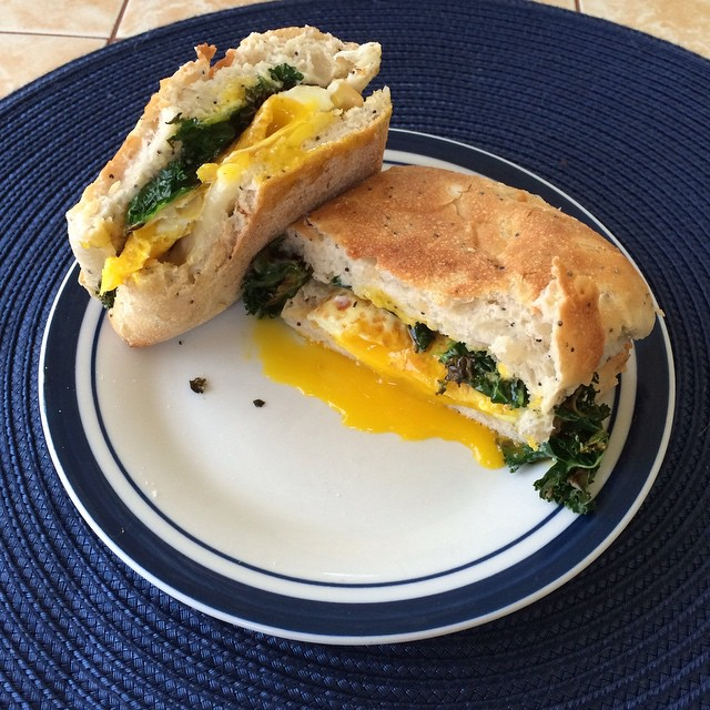 Egg, Cheese, And Kale Sandwich