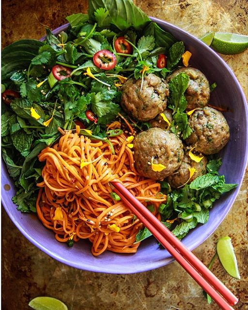 Making this off the charts Paleo Asian Sweet Potato Noodle Bowl with Gingery Pork Meatballs and…