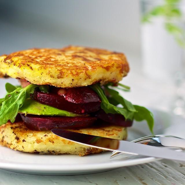 Potato Burger With Beetroot, Rocket Salad And Avocado