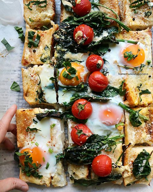 Baguette Breakfast Pizza With Eggs, Spinach, Feta Tomatoes recipe
