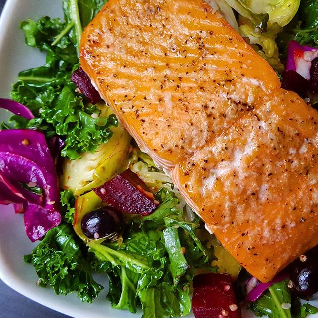Salmon Salad With Roasted Beets And Brussels Sprouts