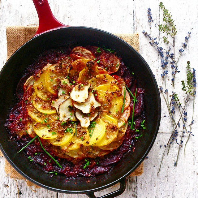 Beetroot & Artichoke Gratin With Lavender And Thyme