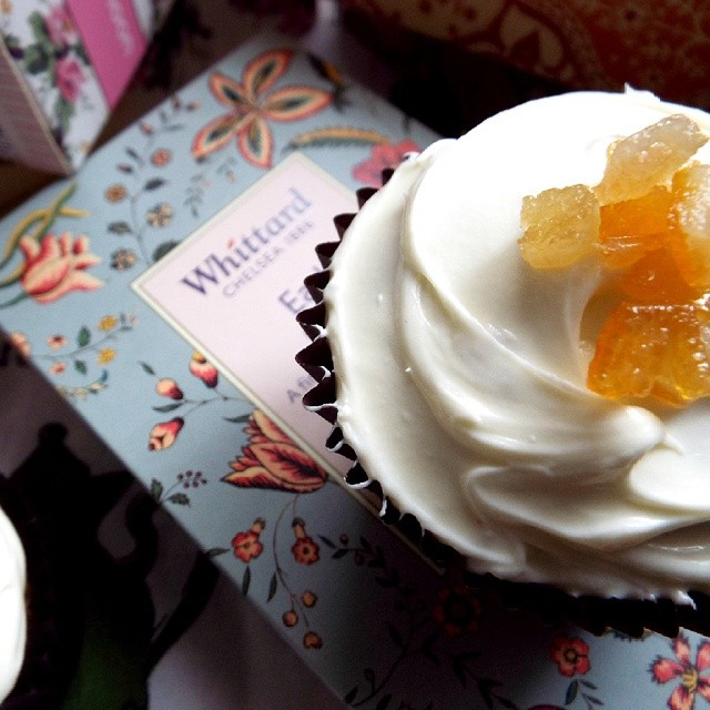 Earl Grey & Orange Blossom Cupcakes Topped With Mixed Peel