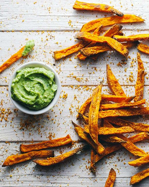Spiced Sweet Potato Fries With Avocado Dipping Sauce