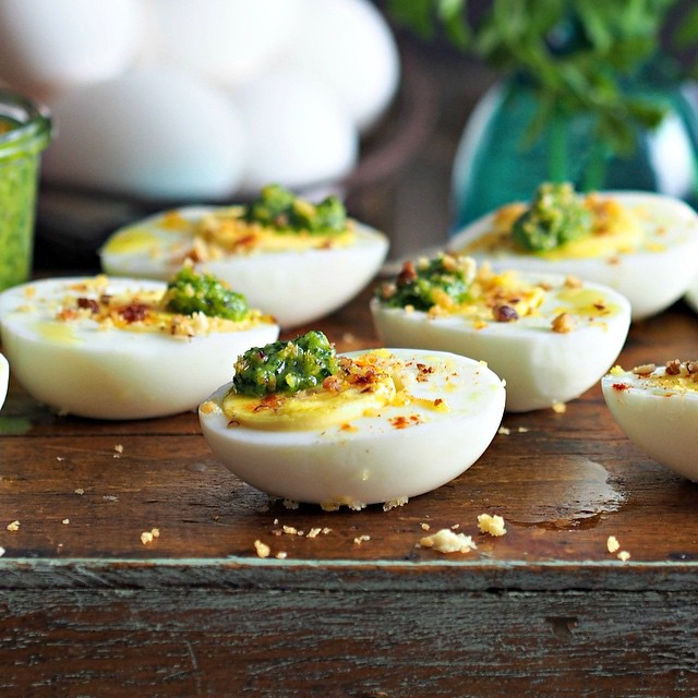 Pesto Topped Eggs Deviled Eggs