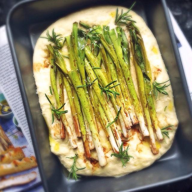 Spring Onion Focaccia Bread With Sage