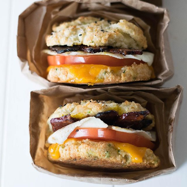Homemade Biscuit Breakfast Sandwiches With Espresso Glazed Bacon, Lemon Aioli, Cheddar & Fried Eggs