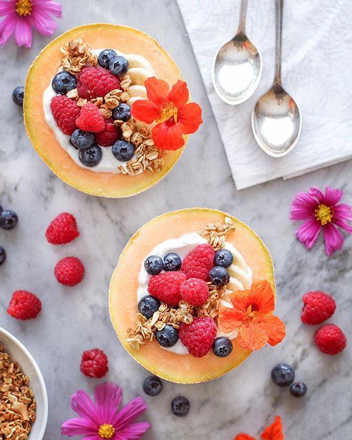 Berry And Yogurt Cantaloupe Bowls