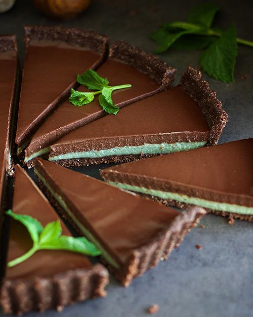 Mint Chocolate Tart With Walnut And Toasted Coconut Crust
