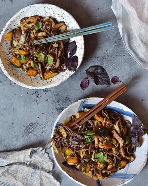Black Rice Noodles With Kabocha, Napa Cabbage And Mushrooms With Tahini Sauce