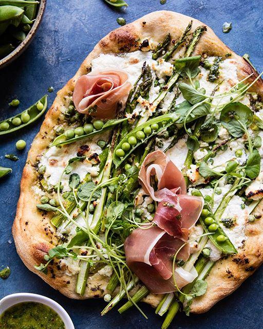 Asparagus, Pea, Burrata And Prosciutto Pizza
