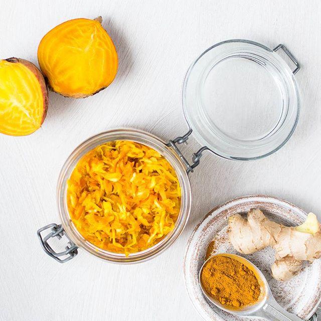 Beet, Turmeric And Ginger Sauerkraut