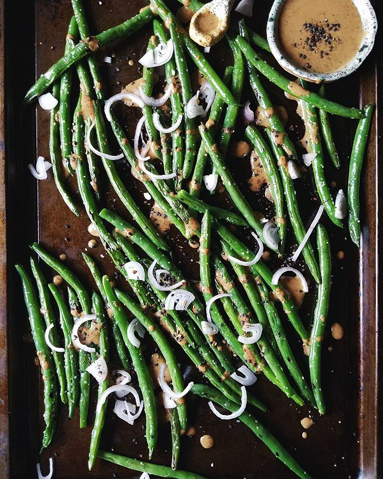 Smoky Green Beans With Mustard, Shallots, And Gomasio