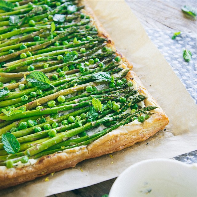 Asparagus + Spring Pea Puff Pastry Tart