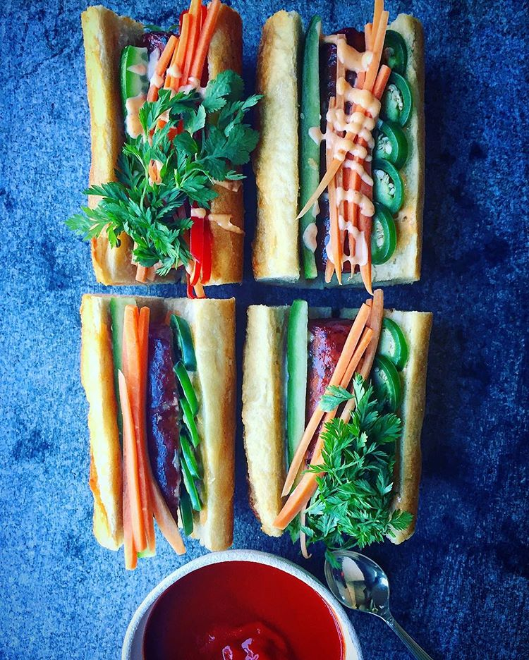 Veggie and Hot Dog Sandwiches with Spicy Sauce