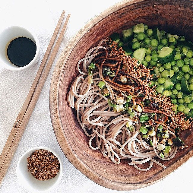 Soba Noodle Bowl With Fresh Peas & Cucumber